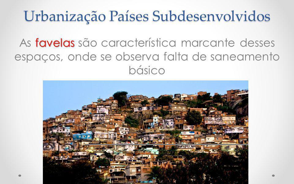 Urbanização Países Subdesenvolvidos favelas As favelas são característica marcante desses espaços, onde se observa falta de saneamento básico