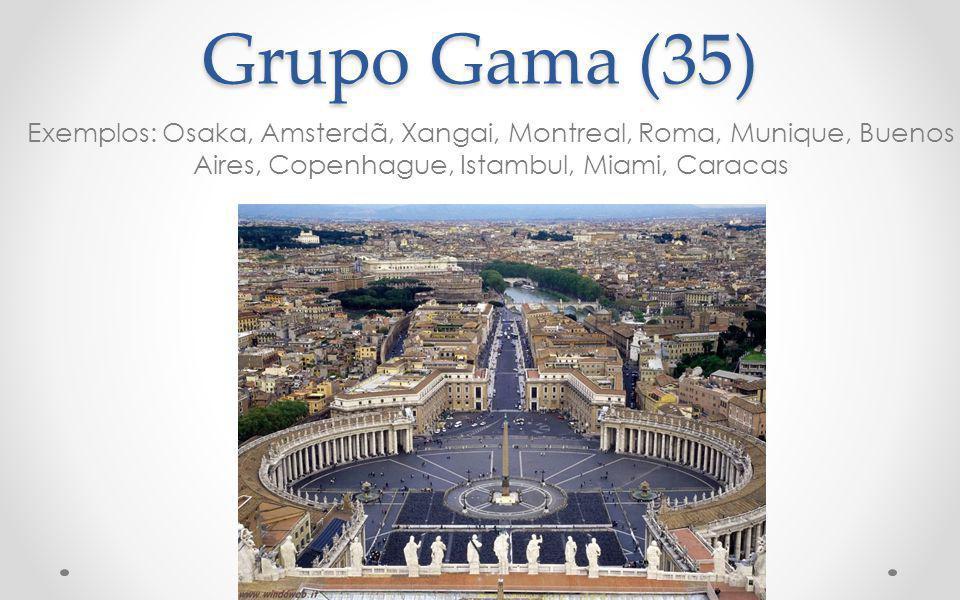 Grupo Gama (35) Exemplos: Osaka, Amsterdã, Xangai, Montreal, Roma, Munique, Buenos Aires, Copenhague, Istambul, Miami, Caracas