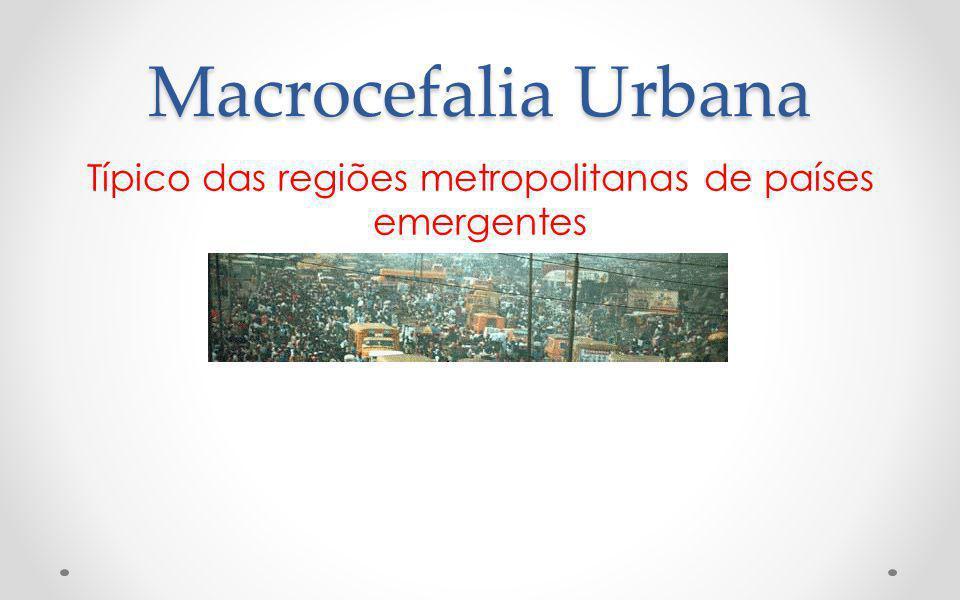 Macrocefalia Urbana Típico das regiões metropolitanas de países emergentes