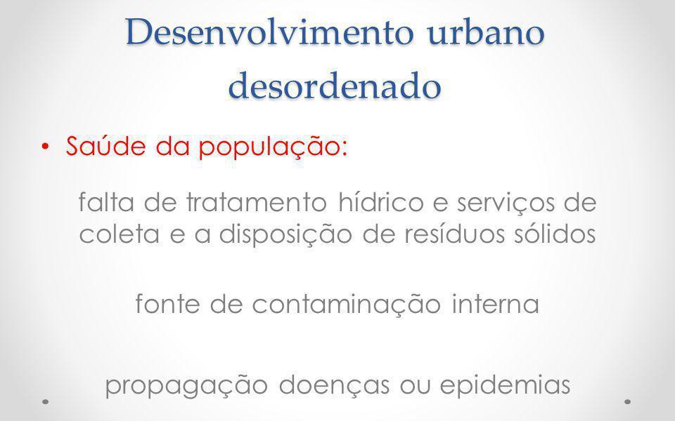 Desenvolvimento urbano desordenado Saúde da população: falta de tratamento hídrico e serviços de coleta e a disposição de resíduos sólidos fonte de contaminação interna propagação doenças ou epidemias