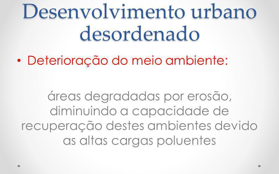 Desenvolvimento urbano desordenado Deterioração do meio ambiente: áreas degradadas por erosão, diminuindo a capacidade de recuperação destes ambientes devido as altas cargas poluentes