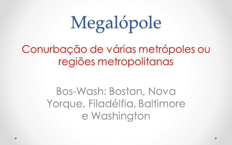 Megalópole Conurbação de várias metrópoles ou regiões metropolitanas Bos-Wash: Boston, Nova Yorque, Filadélfia, Baltimore e Washington