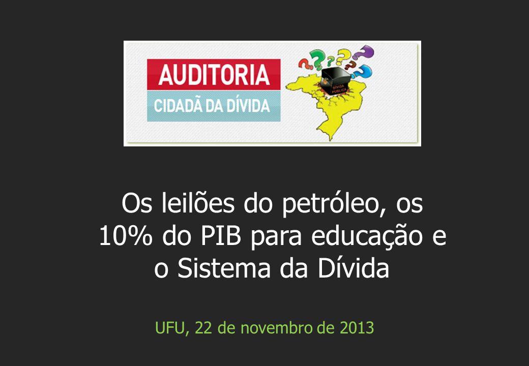 UFU, 22 de novembro de 2013 Os leilões do petróleo, os 10% do PIB para educação e o Sistema da Dívida