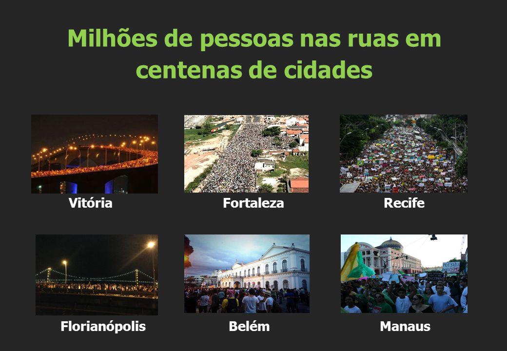 Vitória Fortaleza Recife Florianópolis Belém Manaus Milhões de pessoas nas ruas em centenas de cidades