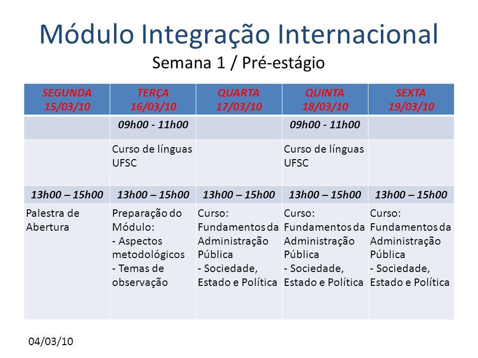 04/03/10 Módulo Integração Internacional Semana 1 / Pré-estágio SEGUNDA 15/03/10 TERÇA 16/03/10 QUARTA 17/03/10 QUINTA 18/03/10 SEXTA 19/03/10 09h00 - 11h00 Curso de línguas UFSC Curso de línguas UFSC 13h00 – 15h00 Palestra de Abertura Preparação do Módulo: - Aspectos metodológicos - Temas de observação Curso: Fundamentos da Administração Pública - Sociedade, Estado e Política Curso: Fundamentos da Administração Pública - Sociedade, Estado e Política Curso: Fundamentos da Administração Pública - Sociedade, Estado e Política