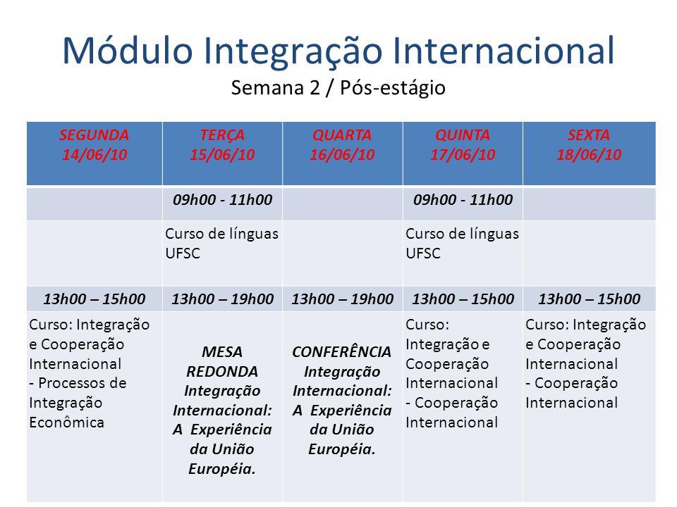 04/03/10 Módulo Integração Internacional Semana 2 / Pós-estágio SEGUNDA 14/06/10 TERÇA 15/06/10 QUARTA 16/06/10 QUINTA 17/06/10 SEXTA 18/06/10 09h00 - 11h00 Curso de línguas UFSC Curso de línguas UFSC 13h00 – 15h0013h00 – 19h00 13h00 – 15h00 Curso: Integração e Cooperação Internacional - Processos de Integração Econômica MESA REDONDA Integração Internacional: A Experiência da União Européia.