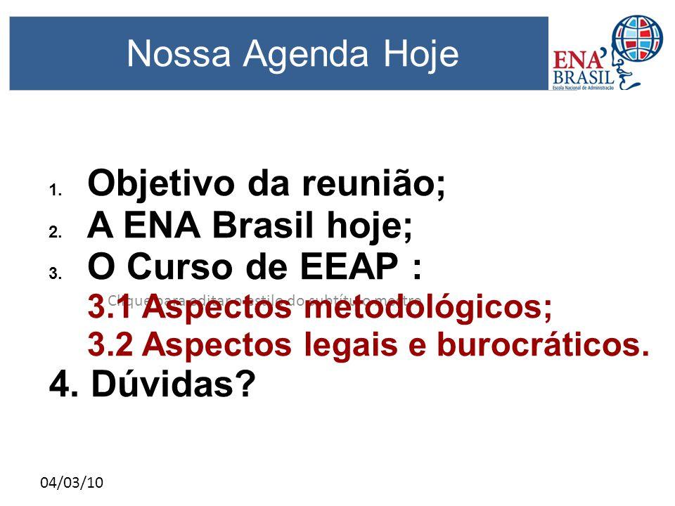 Clique para editar o estilo do subtítulo mestre 04/03/10 Nossa Agenda Hoje 1. Objetivo da reunião; 2. A ENA Brasil hoje; 3. O Curso de EEAP : 3.1 Aspe