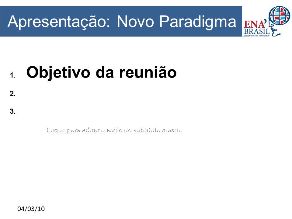Clique para editar o estilo do subtítulo mestre 04/03/10 Apresentação: Novo Paradigma 1. Objetivo da reunião 2. A ENA Brasil hoje; 3. O Curso EEAP : 3