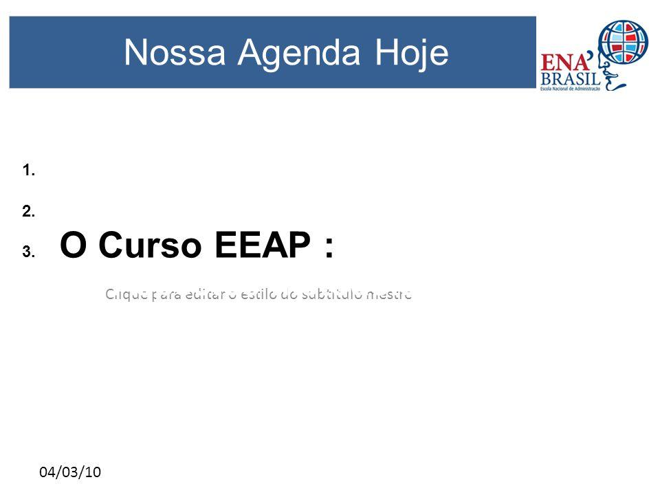 Clique para editar o estilo do subtítulo mestre 04/03/10 Nossa Agenda Hoje 1. Objetivo da reunião 2. A ENA Brasil hoje; 3. O Curso EEAP : 3.1 Aspectos