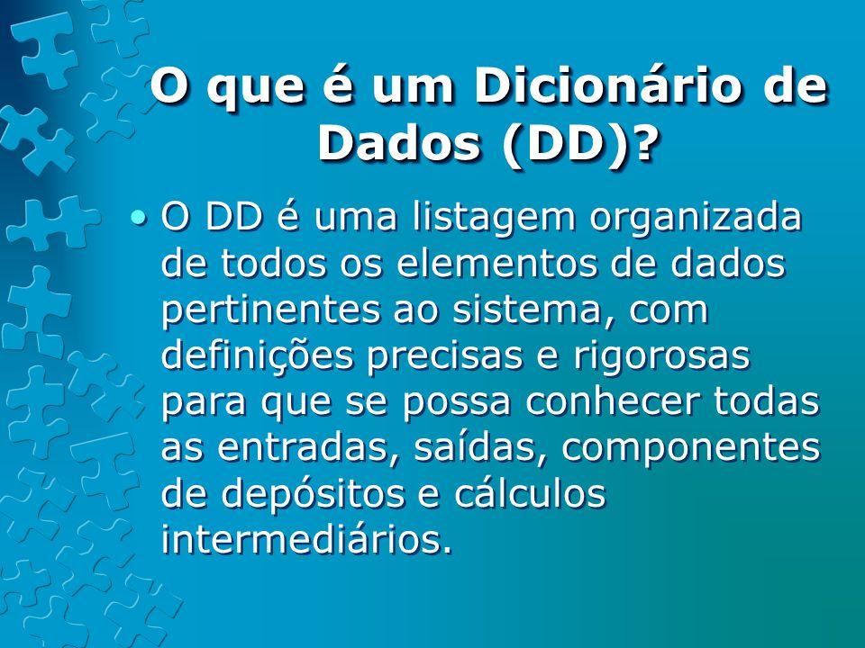 O que é um Dicionário de Dados (DD).