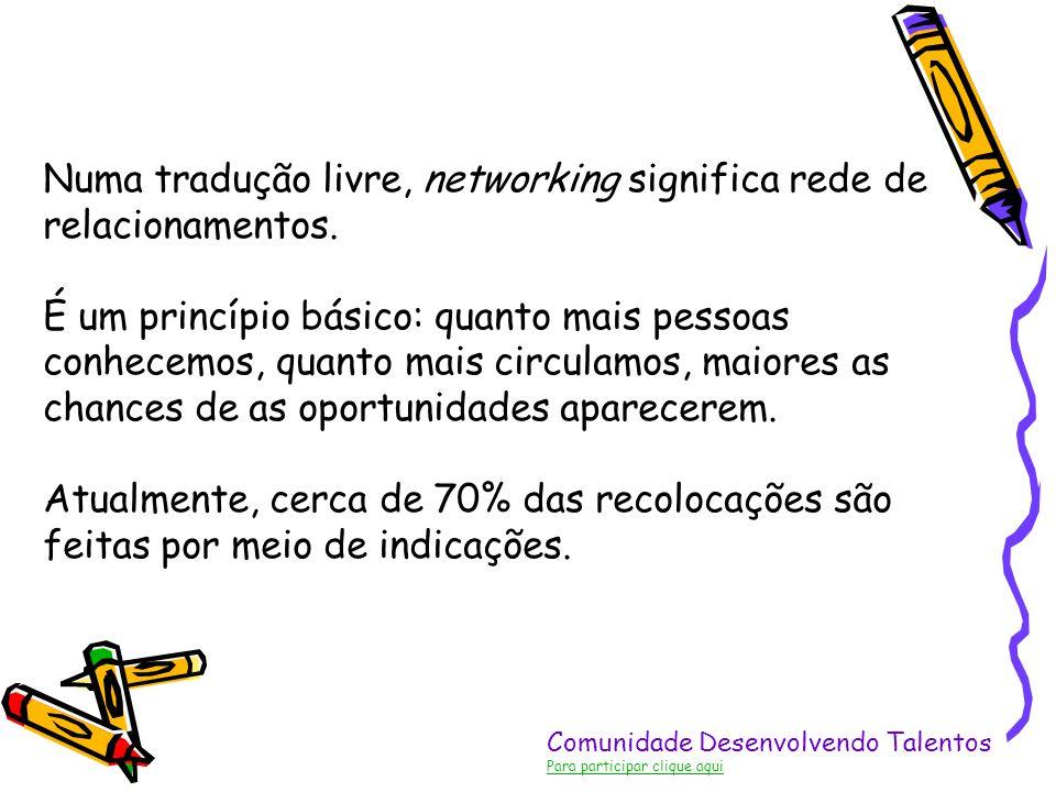 Comunidade Desenvolvendo Talentos Para participar clique aqui Numa tradução livre, networking significa rede de relacionamentos. É um princípio básico