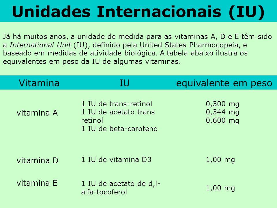 Unidades Internacionais (IU) Já há muitos anos, a unidade de medida para as vitaminas A, D e E têm sido a International Unit (IU), definido pela Unite