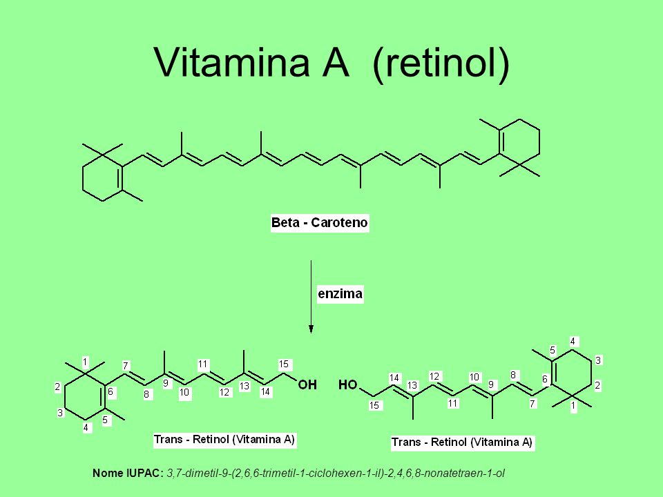 Vitamina A (retinol) Nome IUPAC: 3,7-dimetil-9-(2,6,6-trimetil-1-ciclohexen-1-il)-2,4,6,8-nonatetraen-1-ol