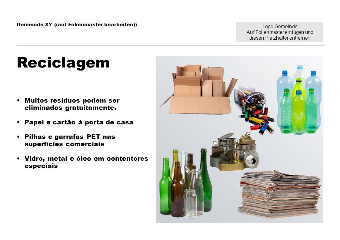 Logo Gemeinde Auf Folienmaster einfügen und diesen Platzhalter entfernen Gemeinde XY ((auf Folienmaster bearbeiten)) Reciclagem Muitos resíduos podem ser eliminados gratuitamente.