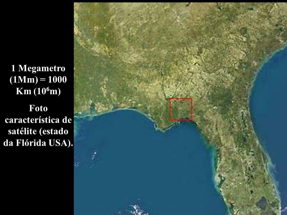 1 Megametro (1Mm) = 1000 Km (10 6 m) Foto característica de satélite (estado da Flórida USA).