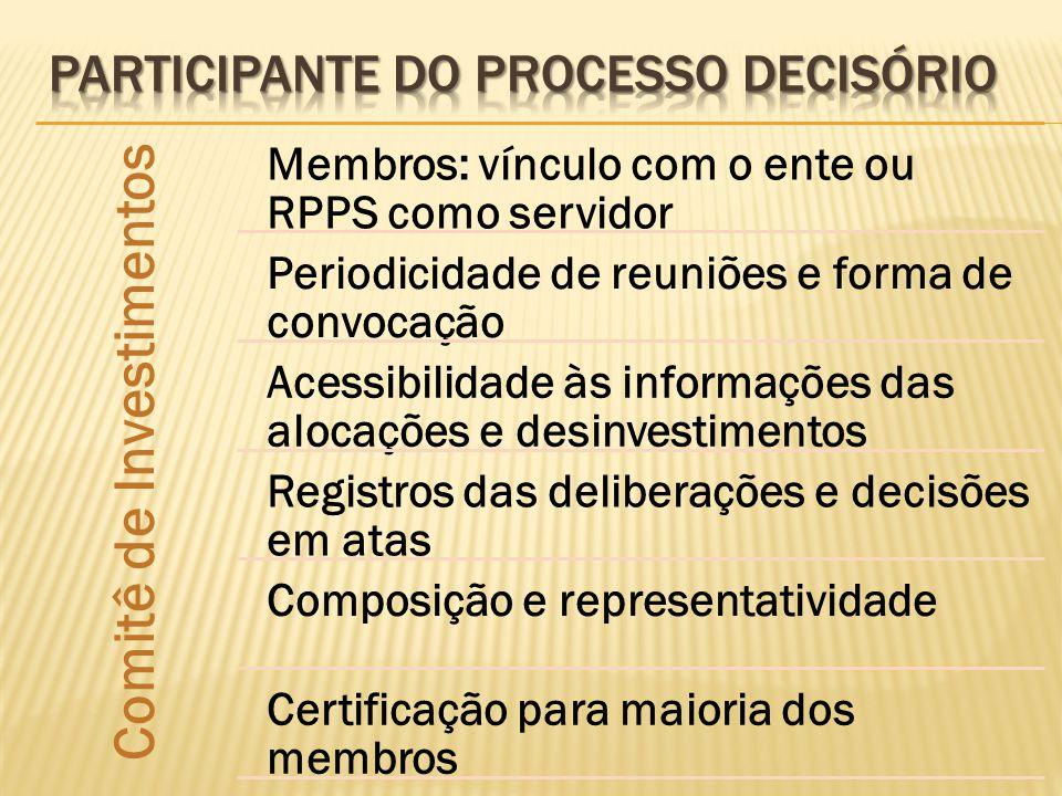Comitê de Investimentos Membros: vínculo com o ente ou RPPS como servidor Periodicidade de reuniões e forma de convocação Acessibilidade às informaçõe