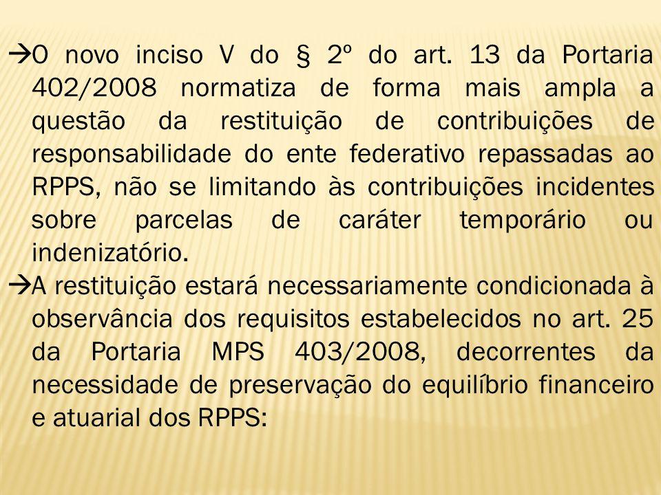  O novo inciso V do § 2º do art. 13 da Portaria 402/2008 normatiza de forma mais ampla a questão da restituição de contribuições de responsabilidade