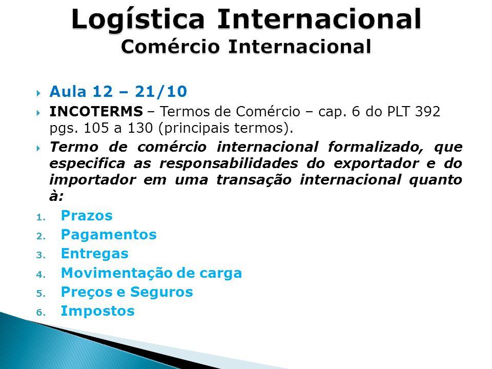  Aula 12 – 21/10  INCOTERMS – Termos de Comércio – cap.