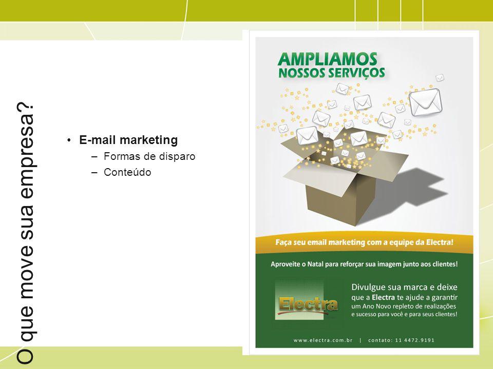 O que move sua empresa? E-mail marketing –Formas de disparo –Conteúdo