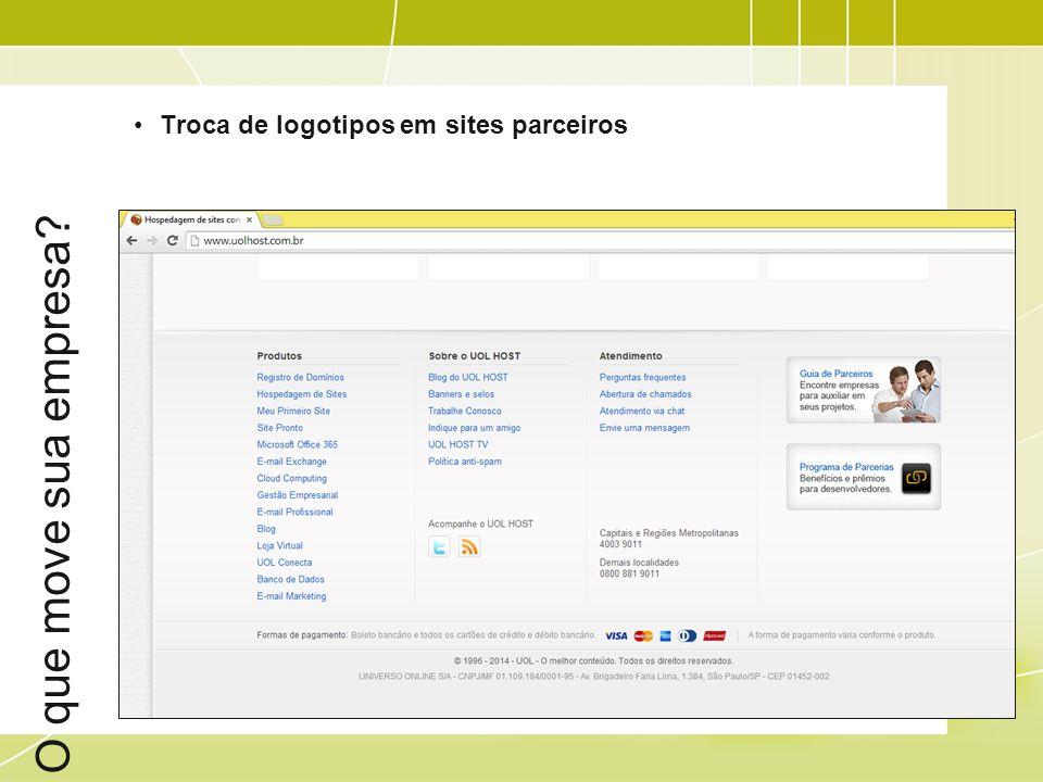 O que move sua empresa Troca de logotipos em sites parceiros