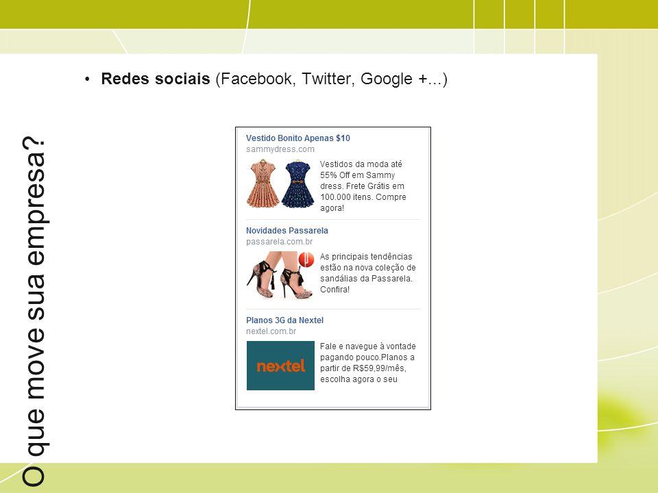 O que move sua empresa Redes sociais (Facebook, Twitter, Google +...)