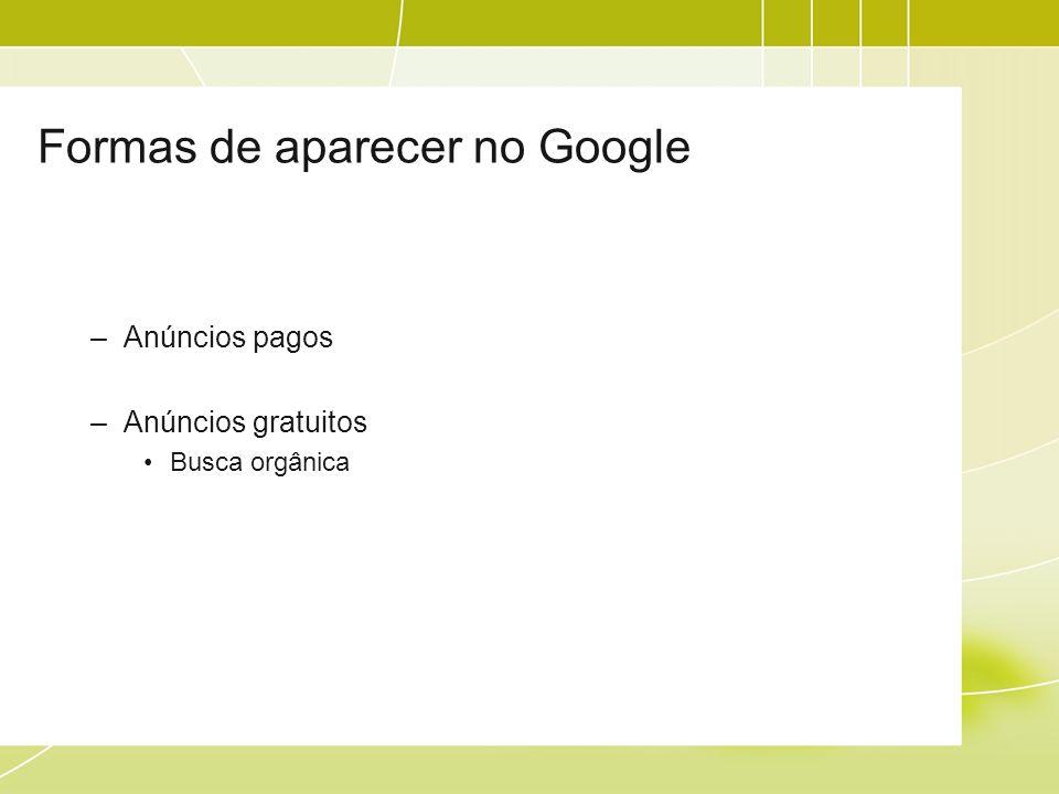 Formas de aparecer no Google –Anúncios pagos –Anúncios gratuitos Busca orgânica