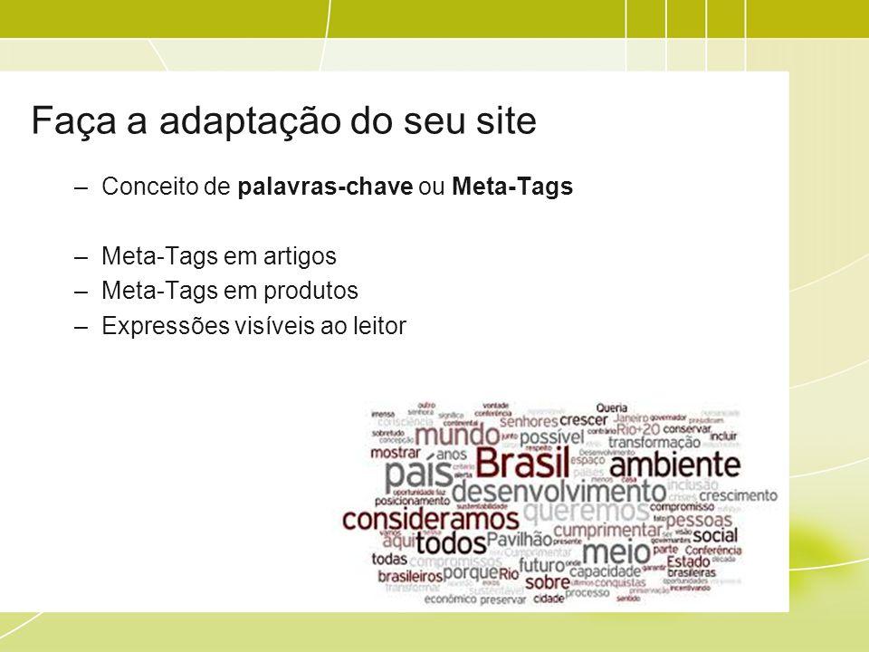Faça a adaptação do seu site –Conceito de palavras-chave ou Meta-Tags –Meta-Tags em artigos –Meta-Tags em produtos –Expressões visíveis ao leitor