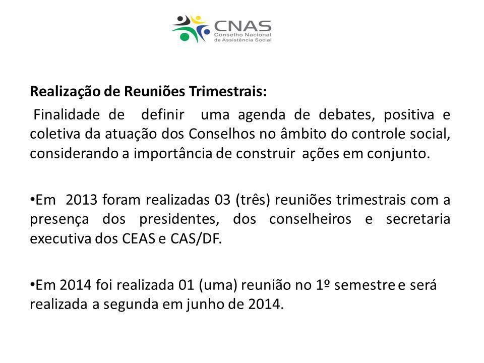 Realização de Reuniões Trimestrais: Finalidade de definir uma agenda de debates, positiva e coletiva da atuação dos Conselhos no âmbito do controle so
