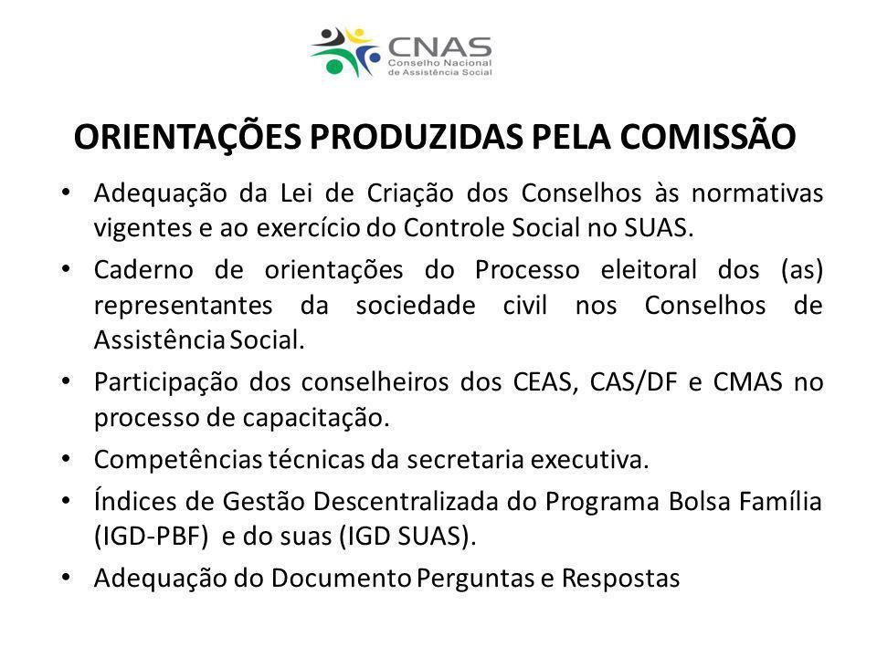 Adequação da Lei de Criação dos Conselhos às normativas vigentes e ao exercício do Controle Social no SUAS. Caderno de orientações do Processo eleitor