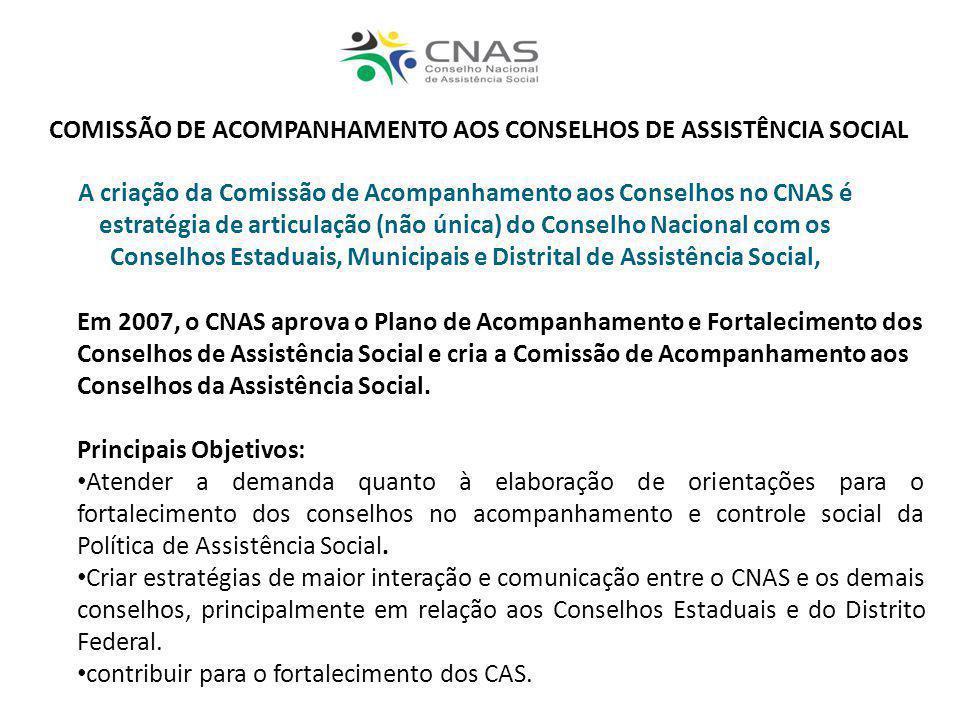 A criação da Comissão de Acompanhamento aos Conselhos no CNAS é estratégia de articulação (não única) do Conselho Nacional com os Conselhos Estaduais,