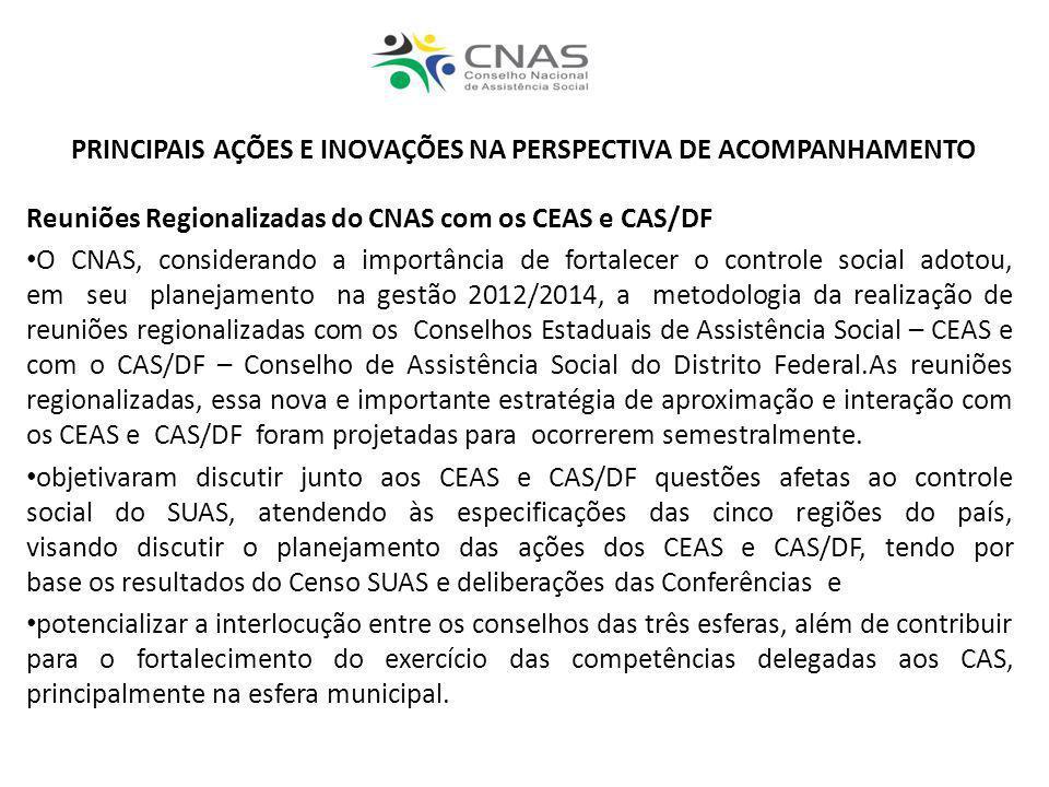 PRINCIPAIS AÇÕES E INOVAÇÕES NA PERSPECTIVA DE ACOMPANHAMENTO Reuniões Regionalizadas do CNAS com os CEAS e CAS/DF O CNAS, considerando a importância