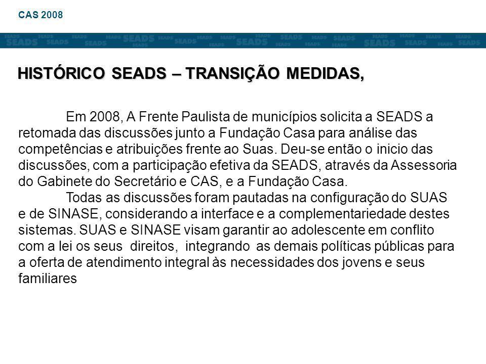 Em 2008, A Frente Paulista de municípios solicita a SEADS a retomada das discussões junto a Fundação Casa para análise das competências e atribuições frente ao Suas.