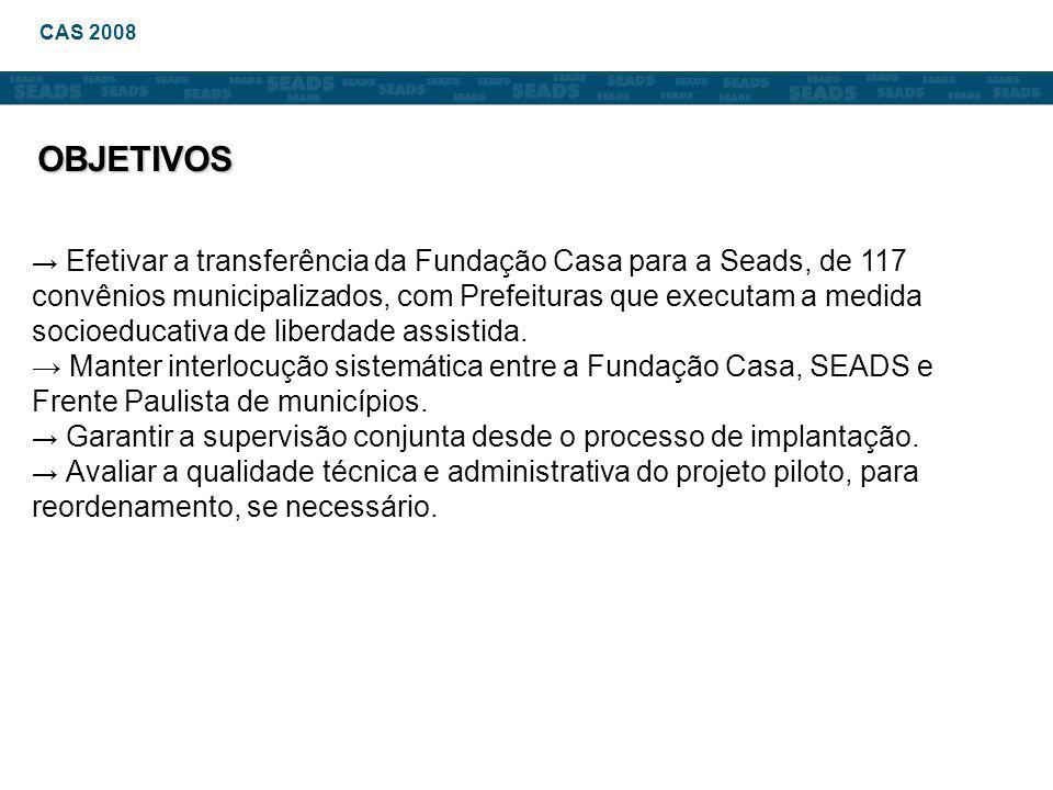 → Efetivar a transferência da Fundação Casa para a Seads, de 117 convênios municipalizados, com Prefeituras que executam a medida socioeducativa de liberdade assistida.