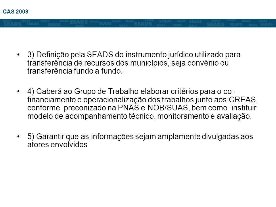 3) Definição pela SEADS do instrumento jurídico utilizado para transferência de recursos dos municípios, seja convênio ou transferência fundo a fundo.