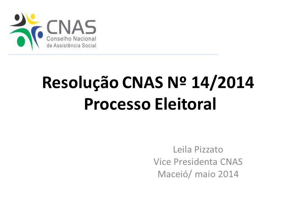 Resolução CNAS Nº 14/2014 Processo Eleitoral Leila Pizzato Vice Presidenta CNAS Maceió/ maio 2014
