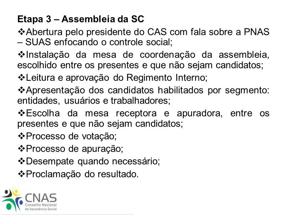 Etapa 3 – Assembleia da SC  Abertura pelo presidente do CAS com fala sobre a PNAS – SUAS enfocando o controle social;  Instalação da mesa de coorden