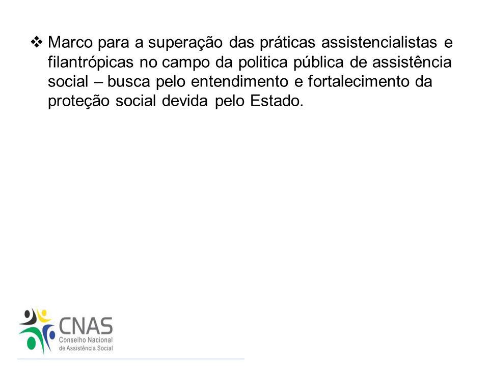  Marco para a superação das práticas assistencialistas e filantrópicas no campo da politica pública de assistência social – busca pelo entendimento e
