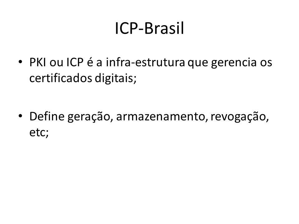 ICP-Brasil PKI ou ICP é a infra-estrutura que gerencia os certificados digitais; Define geração, armazenamento, revogação, etc;