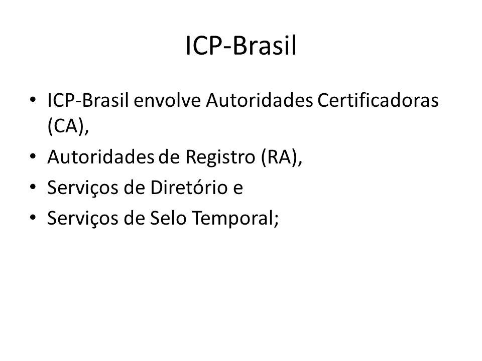 ICP-Brasil ICP-Brasil envolve Autoridades Certificadoras (CA), Autoridades de Registro (RA), Serviços de Diretório e Serviços de Selo Temporal;