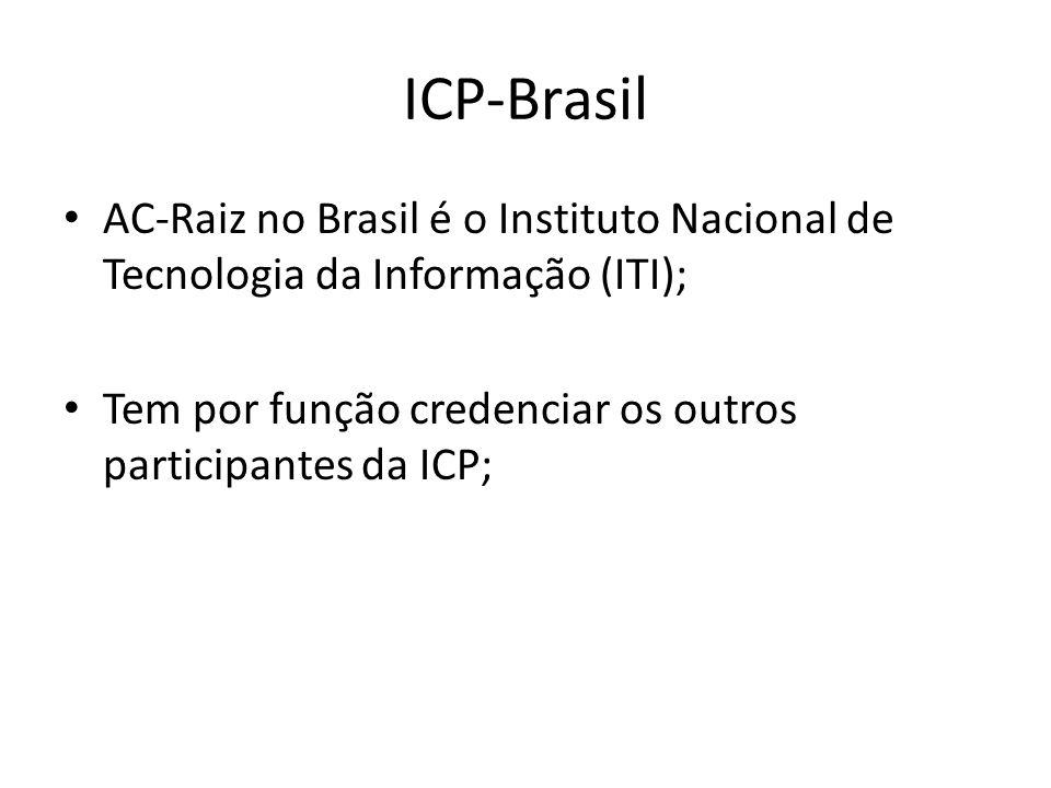 ICP-Brasil AC-Raiz no Brasil é o Instituto Nacional de Tecnologia da Informação (ITI); Tem por função credenciar os outros participantes da ICP;