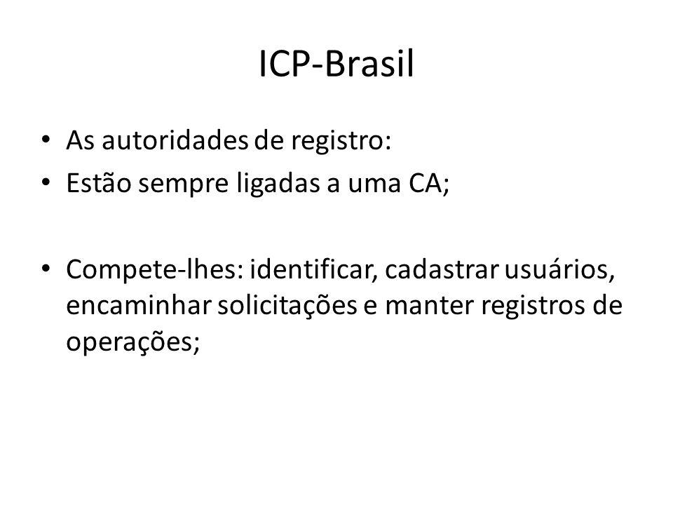 As autoridades de registro: Estão sempre ligadas a uma CA; Compete-lhes: identificar, cadastrar usuários, encaminhar solicitações e manter registros de operações;