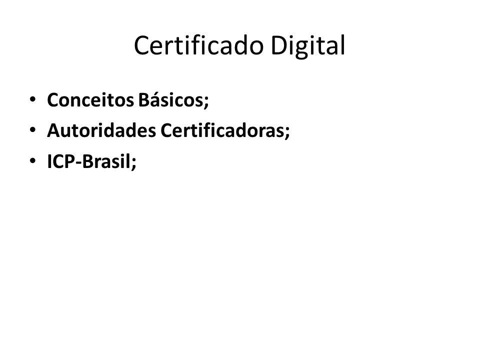 Certificado Digital Conceitos Básicos; Autoridades Certificadoras; ICP-Brasil;