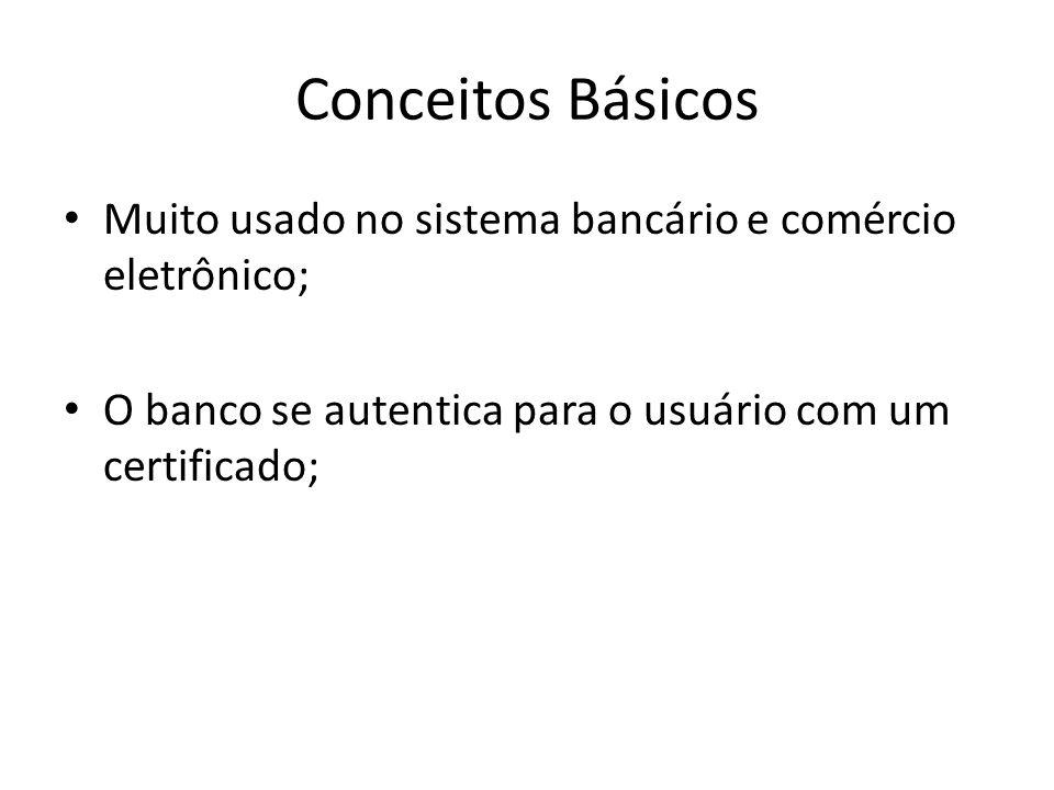 Conceitos Básicos Muito usado no sistema bancário e comércio eletrônico; O banco se autentica para o usuário com um certificado;