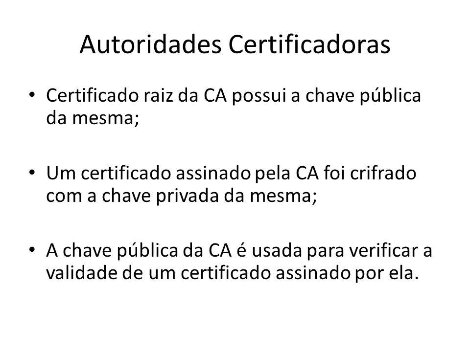 Autoridades Certificadoras Certificado raiz da CA possui a chave pública da mesma; Um certificado assinado pela CA foi crifrado com a chave privada da mesma; A chave pública da CA é usada para verificar a validade de um certificado assinado por ela.