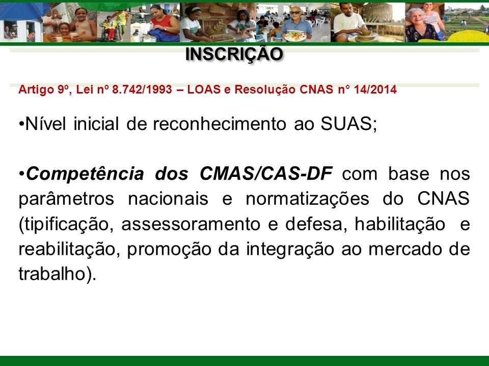 INSCRIÇÃO Artigo 9º, Lei nº 8.742/1993 – LOAS e Resolução CNAS n° 14/2014 Nível inicial de reconhecimento ao SUAS; Competência dos CMAS/CAS-DF com bas