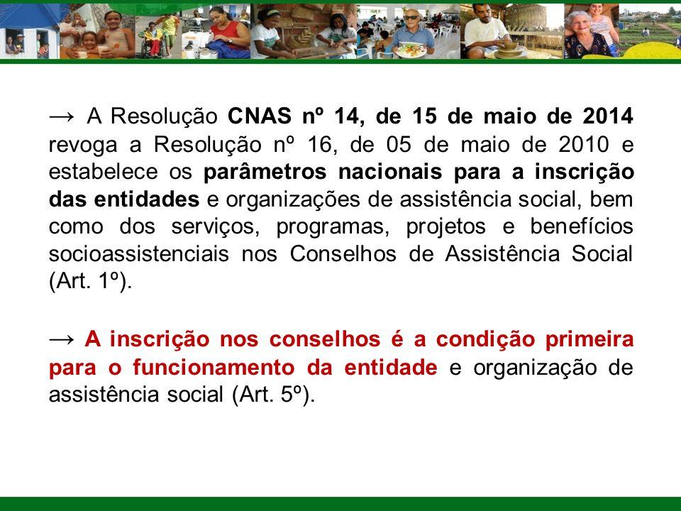 → A Resolução CNAS nº 14, de 15 de maio de 2014 revoga a Resolução nº 16, de 05 de maio de 2010 e estabelece os parâmetros nacionais para a inscrição