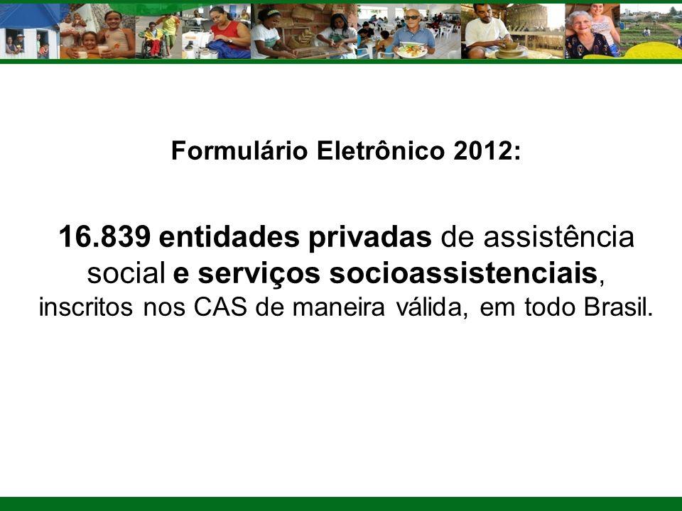 Formulário Eletrônico 2012: 16.839 entidades privadas de assistência social e serviços socioassistenciais, inscritos nos CAS de maneira válida, em tod