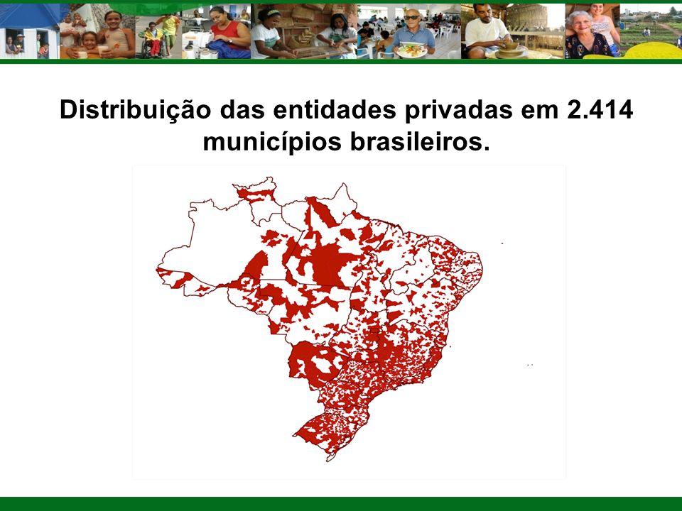 Distribuição das entidades privadas em 2.414 municípios brasileiros.