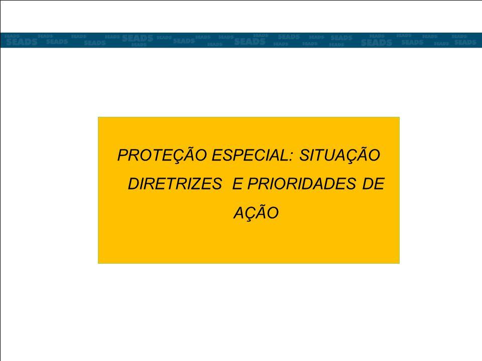 PROTEÇÃO ESPECIAL: SITUAÇÃO DIRETRIZES E PRIORIDADES DE AÇÃO