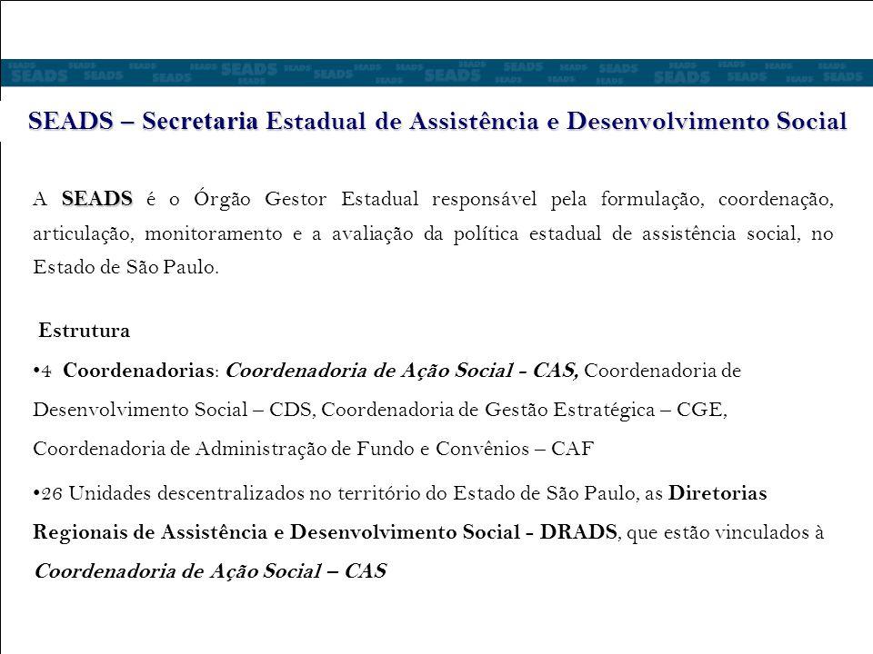 SEADS – Secretaria Estadual de Assistência e Desenvolvimento Social SEADS A SEADS é o Órgão Gestor Estadual responsável pela formulação, coordenação, articulação, monitoramento e a avaliação da política estadual de assistência social, no Estado de São Paulo.